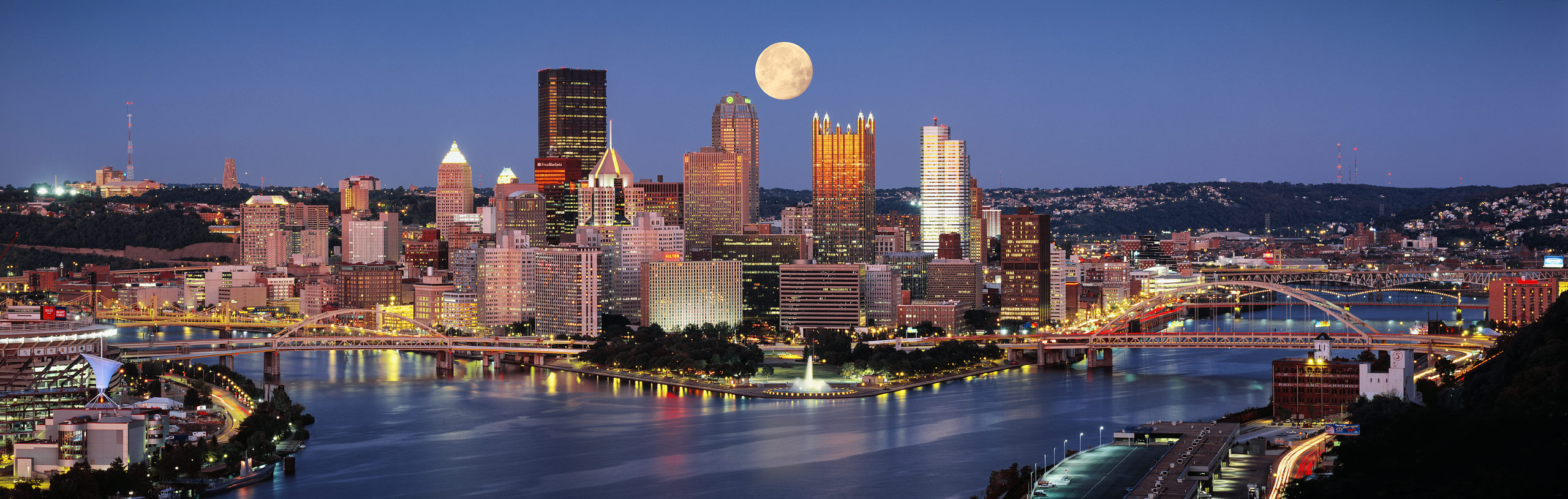 Pittsburgh, PA Dusk, Moon