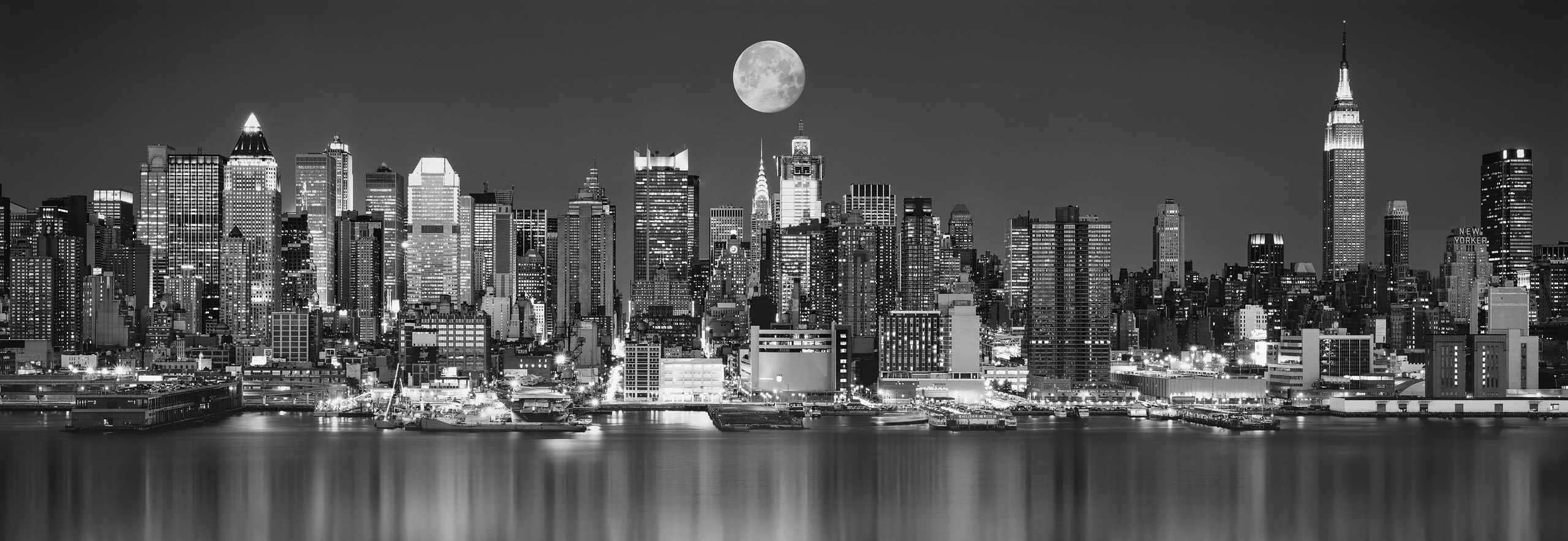 Moon over Manhattan (Black and White) with reflections and reflections) in the Hudson River